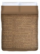 Vintage Old Classified Newspaper Ads Duvet Cover