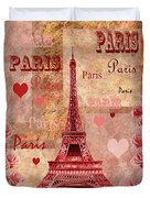 Vintage Paris And Roses Duvet Cover