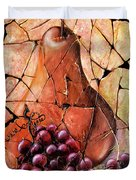 Vintage  Pear And Grapes Fresco   Duvet Cover
