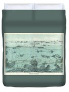 Vintage Pictorial Map Of Boston Harbor  Duvet Cover