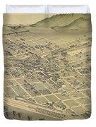 Vintage Pictorial Map Of El Paso Texas - 1886 Duvet Cover
