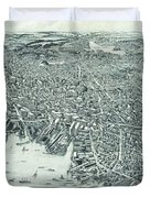 Vintage Pictorial Map Of Lynn Massachusetts - 1916 Duvet Cover