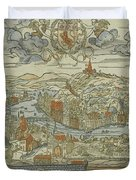 Vintage Pictorial Map Of Lyon France - 1555 Duvet Cover