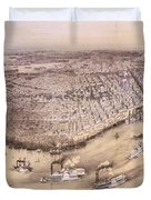Vintage Pictorial Map Of New Orleans - 1851 Duvet Cover
