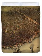 Vintage Pictorial Map Of New Orleans - 1885 Duvet Cover