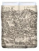 Vintage Pictorial Map Of New York City - 1672 Duvet Cover