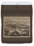 Vintage Pictorial Map Of New York City - 1840 Duvet Cover