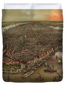 Vintage Pictorial Map Of New York City - 1873 Duvet Cover