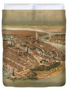Vintage Pictorial Map Of New York City - 1874 Duvet Cover