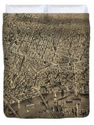 Vintage Pictorial Map Of Newark Nj - 1874 Duvet Cover