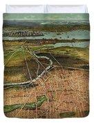 Vintage Pictorial Map Of Newark Nj - 1916 Duvet Cover