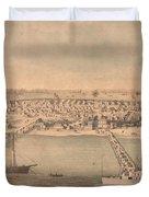 Vintage Pictorial Map Of Newport News Va - 1862 Duvet Cover