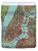Vintage Pictorial Map Of Of New York City - 1909 Duvet Cover