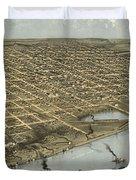 Vintage Pictorial Map Of Omaha Nebraska - 1868 Duvet Cover
