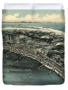 Vintage Pictorial Map Of Provincetown - 1910 Duvet Cover