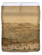 Vintage Pictorial Map Of San Francisco - 1868 Duvet Cover