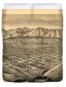 Vintage Pictorial Map Of Santa Barbara Ca - 1877 Duvet Cover