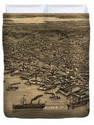 Vintage Pictorial Map Of Seattle - 1884 Duvet Cover