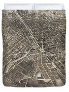 Vintage Pictorial Map Of Syracuse New York - 1874 Duvet Cover