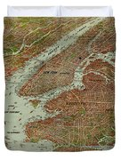 Vintage Pictorial Map Of The Nyc Area - 1912 Duvet Cover