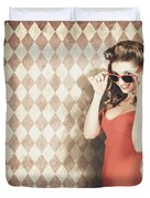Vintage Pinup Fashion Model In Womens Sunglasses Duvet Cover