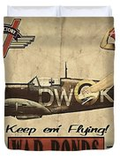 Vintage Pinup Warbond Ad Duvet Cover