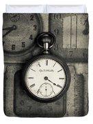 Vintage Pocket Watch Over Old Clocks Duvet Cover