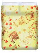 Vintage Poker Background Duvet Cover