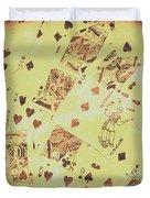 Vintage Poker Card Background Duvet Cover