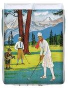 Vintage Poster Advertising Samaden In Switzerland Duvet Cover