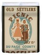 Vintage Poster Old Settlers Picnic Duvet Cover