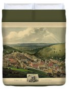 Vintage Pottsville Pennsylvania Etching With Remarque Duvet Cover