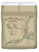 Vintage Railway Map 1865 Duvet Cover