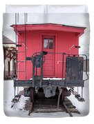 Vintage Red Caboose In The Snow Duvet Cover