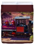 Vintage Red Calico Train Duvet Cover