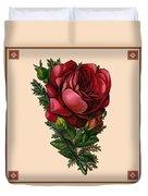 Vintage Red Rose Botanical Duvet Cover