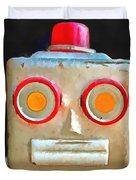 Vintage Robot Toy Square Pop Art Duvet Cover