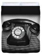 Vintage Rotary Phone Black And White Duvet Cover