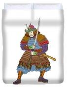 Vintage Samurai Katana Woodblock Print Duvet Cover