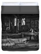 Vintage Sawmill In Black And White Duvet Cover