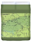 Vintage Smoky Mountains National Park Map Duvet Cover