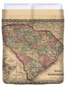 Vintage South Carolina Map Duvet Cover
