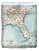 Vintage Southeastern Us And Caribbean Map - 1900 Duvet Cover