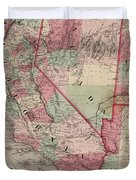 Vintage Southwestern United States Map - 1869 Duvet Cover
