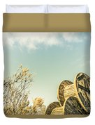 Vintage Spools And Farmyard Skies Duvet Cover