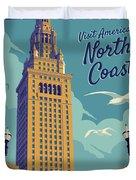Cleveland Poster - Vintage Style Travel  Duvet Cover