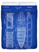 Vintage Surf Board Patent Blue Print 1950 Duvet Cover