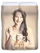 Vintage Tea Advertisement Pin-up Duvet Cover
