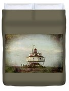 Vintage Thomas Point Shoal Lighthouse Duvet Cover