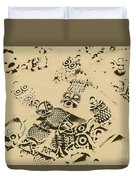 Vintage Toned Owls Duvet Cover
